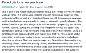 Guest review for Normandy Gite Holidays